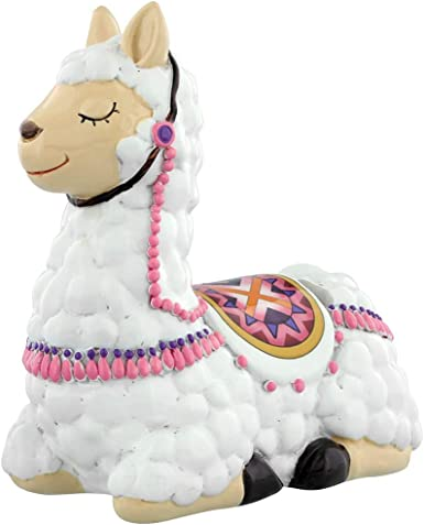 Truu Design Cute Llama Cream White Novelty Ceramic Money Bank 4 x 6.5 inches
