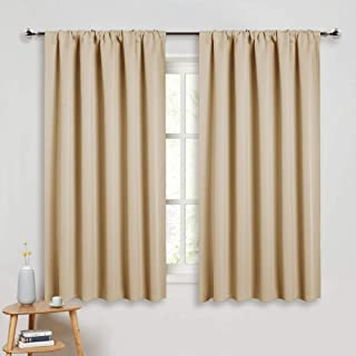 PONY DANCE Beige Kitchen Curtains - Window Treatments Rod Pocket Energy Efficient Blackout Curtain Panels Room Darkening Home Decor for Kids'Room, 52-inch Wide by 45 Long, Biscotti Beige, 2 PCs