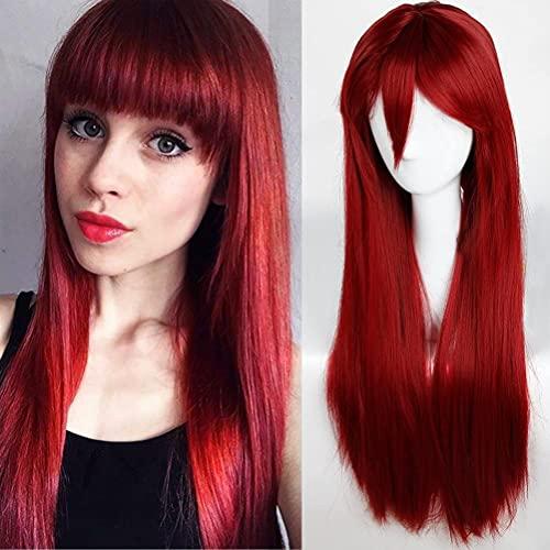 S-noilite - Parrucca completa, capelli lisci/ricco con frangia, lunghezza 61/81/101 cm, per cosplay