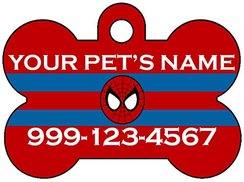 uDesignUSA Spiderman Pet Id Tag for Dogs & Cats Personalized w/Name & Number