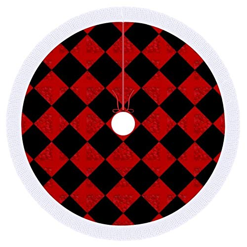 onepicebest Merry Christmas Tree Skirt With Tassel, Black And Hombre Red Diamond Checker Pattern-Up Xmas Tree Decorations For Farmhouse Party, Tree Mat Cover 120 CM