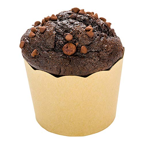 Panificio Premium 7 oz Kraft Paper Jumbo Baking Cup: Paper Baking Cups Perfect for Muffins, Cupcakes or Mini Snacks - Scalloped - Disposable and Recyclable - 200ct Box - Restaurantware