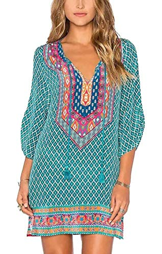 Women Bohemian Neck Tie Vintage Printed Ethnic Style Summer Shift Dress (M, Pattern 18)