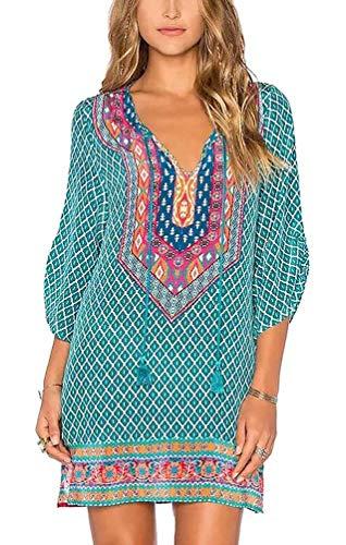 Women Bohemian Neck Tie Vintage Printed Ethnic Style Summer Shift Dress (L, Pattern 18)