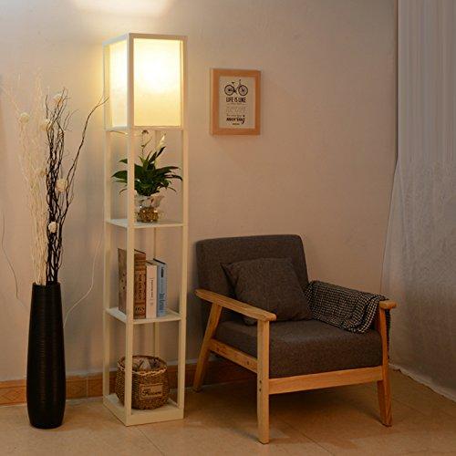 Fullwatt Lámpara de pie con estante de madera, iluminación interior, lámpara de pie de madera con estantes para dormitorio y salón, color blanco