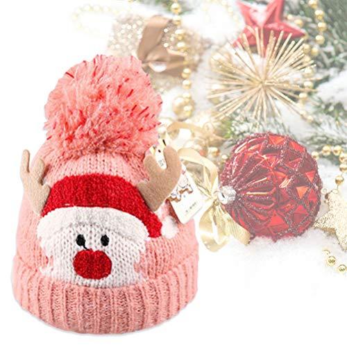 Amosfun 1PC Hut Komfortabel Niedliche Deer Wool Knit Fashion Warm Hat für Weihnachtsmädchen Jungen Pink