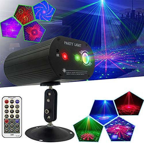 Party Lights DJ Disco Lights, Sound Activated and Remote Control with Multiple Patterns Projector Effects Stage Strobe Lights for Party Birthday Wedding Karaoke KTV Bar Christmas Halloween Decorations