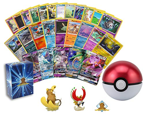 100 Assorted Pokemon Cards - 1 GX Ultra Rare, 4 Reverse Holographics, and 5 Rare Cards - Includes 1 Pokeball Tin with 1 Assorted Pokemon Figurine - Includes Golden Groundhog Deck Storage Box