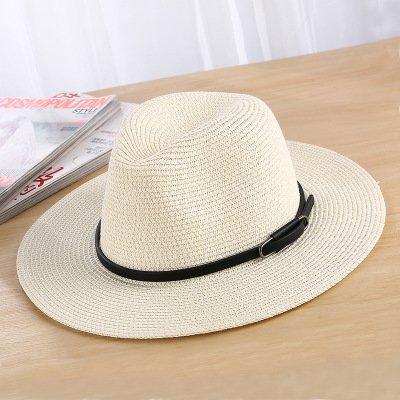 Mdsfe Dames zonnehoed mode casual dames stroh zomer strandhoed k1572 milk white-A1572