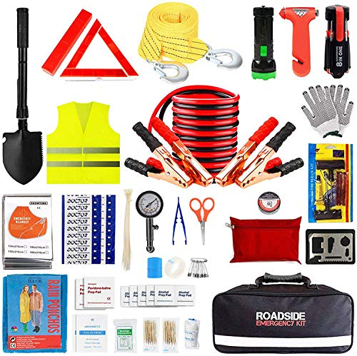 Car Emergency Kit,Auto Roadside Assistance Safety Bag with Jumper Cable for Truck Automobile Vehicle with First Aid Kit,Essential Winter Universal Road Tool Set for RV Jeep Travel with Blanket Shovel
