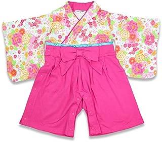 ベビー 赤ちゃん 袴風 カバーオール ロンパース 女の子 全開き ピンク 80cm 10657606PI80
