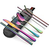 Devico Portable Utensils, Travel Camping Cutlery Set, 8-Piece including Knife Fork Spoon Chopsticks Cleaning Brush Straws Portable Case, Stainless Steel Flatware set (8-piece Rainbow)