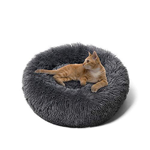 Cuccia Peluche Ciambella Letto per Animali Domestici, Cuscino Rotondo , Fondo Antiscivolo Impermeabile, Morbido Cuscino per Gatti Cane(50 cm, Grigio)