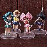 honeyya Sailor Moon Sailor Uranus Saturn Neptun Chibi Moon Chibiusa Hübsche Wächter Actionfigur PVC Collection Modell Spielzeug 4St.