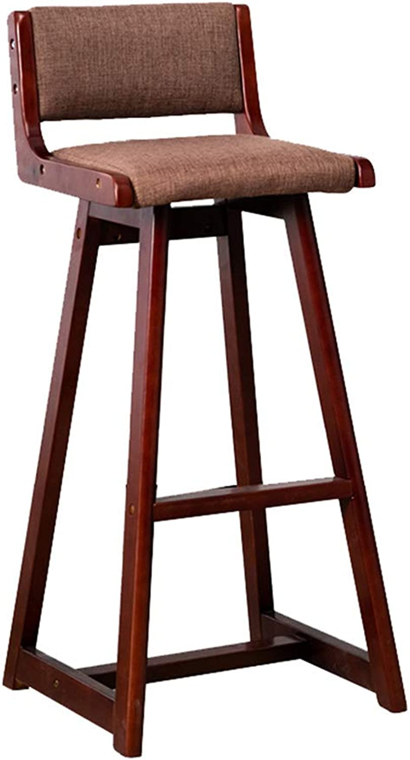 Modern Barstools Chair with Back and Footrest for Kitchen Pub Bar High Stools   Leisure Side Dining Chairs for Bistro Café Counter Height Home Living Room Furniture, Brown