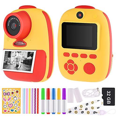 GOLDGE Sofortbildkamera Kinder Kamera Digitale Fotokamera Selfie Videokamera mit 3 Rolle Druckpapier 32G Speicherkarten Lanyard Aufklebern Fotoeckenaufklebern Geschenk für Kinder(Rotgelb)