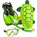 Mares Italian Collection Premium Youth Sea Pals Character Kids Mask Fin Snorkel Set Snorkeling Gear - Ultra-Clear Tempered Glass Lens Snorkeling Set (Lime, Large/1-4)