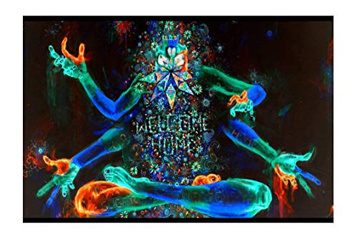 100Yellow® Neon Trippy Smoking Weed Paper Poster for Bars, Clubs & Hostel Rooms - (Paper, 12X18-Inch, Multicolour)