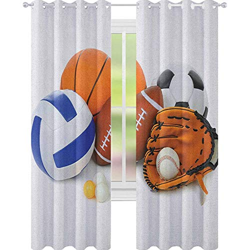 YUAZHOQI Sports Drape for French Door Many Different Sports Balls All Together Championship Ping Pong Volleyball Olympics Noise Reducing Curtain 52' x 84' Multicolor
