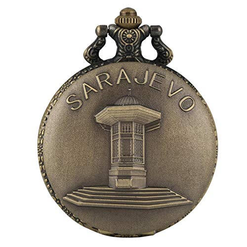 Retro Bronce Sarajevo Sapele Pavilion Fuente Pantalla Full Hunter Reloj de Bolsillo Reloj de Cuarzo Collar de Recuerdo Reloj Regalos 80cmchain