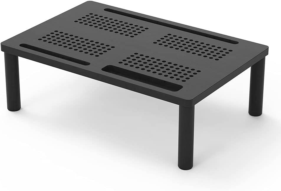 Monitor Stand Riser Nnewvante Bamboo Desktop Stand 2 Heights Adjustable Legs 4-use Desk Organizer for Computer Laptop Printer, Black