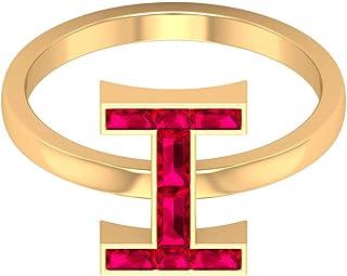 Anillo de letra inicial, 1 quilate de rubí creado en laboratorio, anillo de letra I, anillo de compromiso inicial, joyería...
