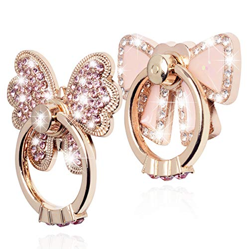 Finger Ring Stand,WATACHE 2 Pack Luxury Glitter Diamond Universal Metal Finger Ring Grip Holder Kickstand for iPhone Xs Max Xr X 8 7 6 6s Plus 5s,Galaxy S10 Plus S8 S7 S6 Note,All Smartphone,Pink/Bow