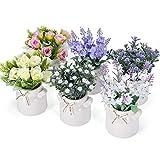 PNNP Kunstblumen im Topf 6 STK, 7 x 14cm Klein Kunstpflanze Künstliche Pflanze mit Vase Outdoor Indoor, Kunststoff Gypsophila Lavendel Rose Blumen Deko, Tischdeko Balkon Wohnzimmer Schlafzimmer
