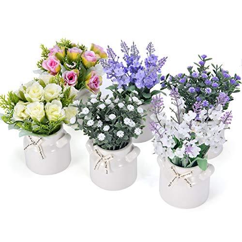 PNNP Kunstblumen im Topf 6 STK, 7 x 14cm Klein Kunstpflanze Künstliche Pflanze mit Vase Outdoor Indoor, Kunststoff Lavendel, Rose Blumen Deko, Tischdeko Balkon Wohnzimmer Schlafzimmer, MEHRWEG