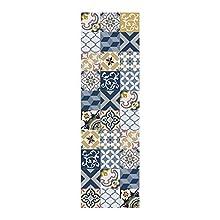 STORESDECO Alfombra de Vinilo VinylFloor, Alfombra Estampada y Antideslizante de PVC, Ideal para Cocina, salón, baño… (60 cm X 200 , Azul)