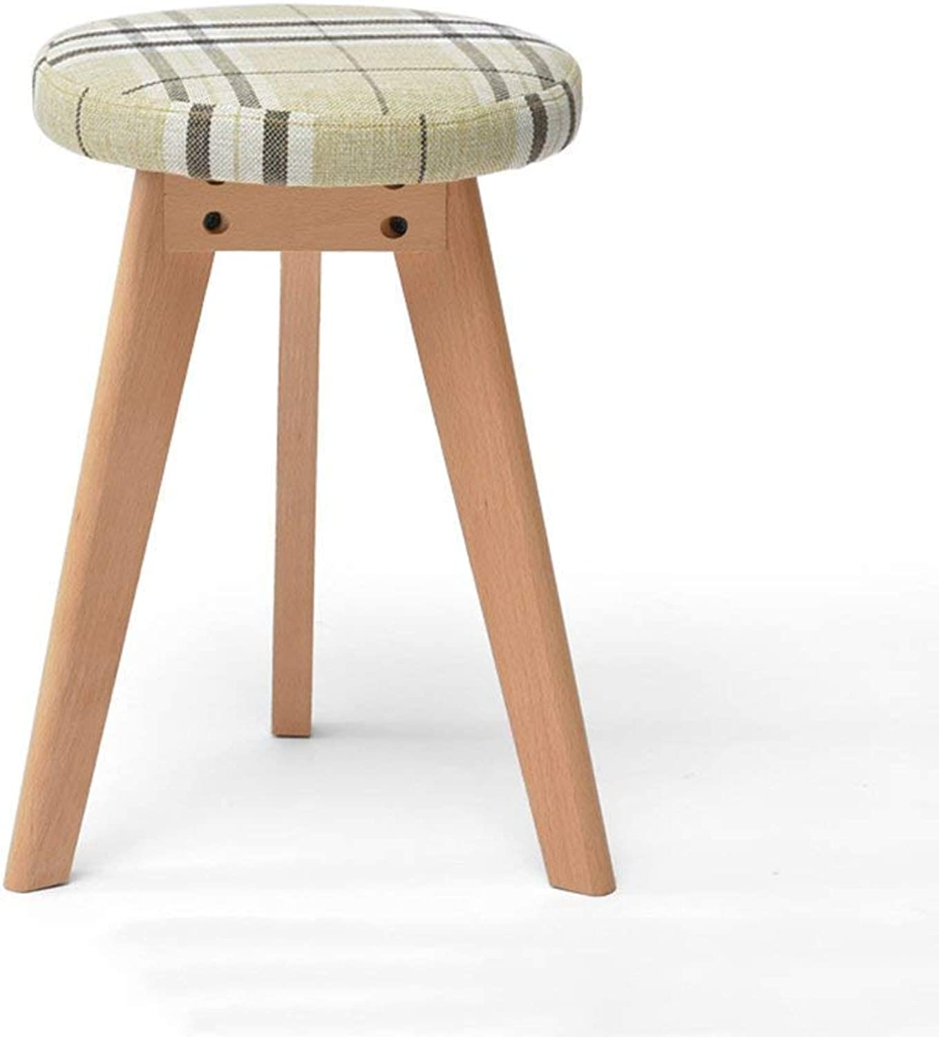 STTS Chair- Bar Stool Solid Wood + Fabric + Pu Creative Fashion Non-Slip Durable Household Practical Stool