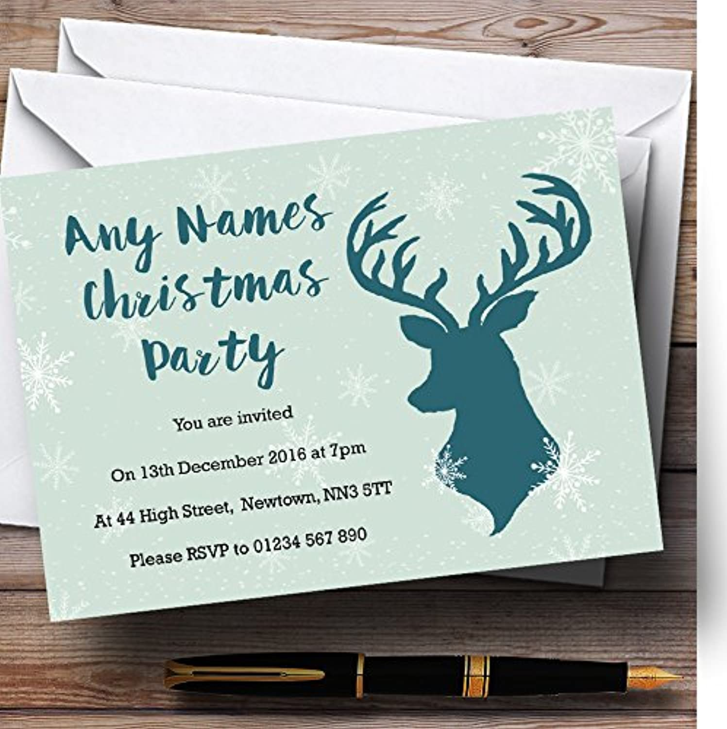 Green Stag and Snowflakes Personalised Christmas   New Year   Holiday Party I...