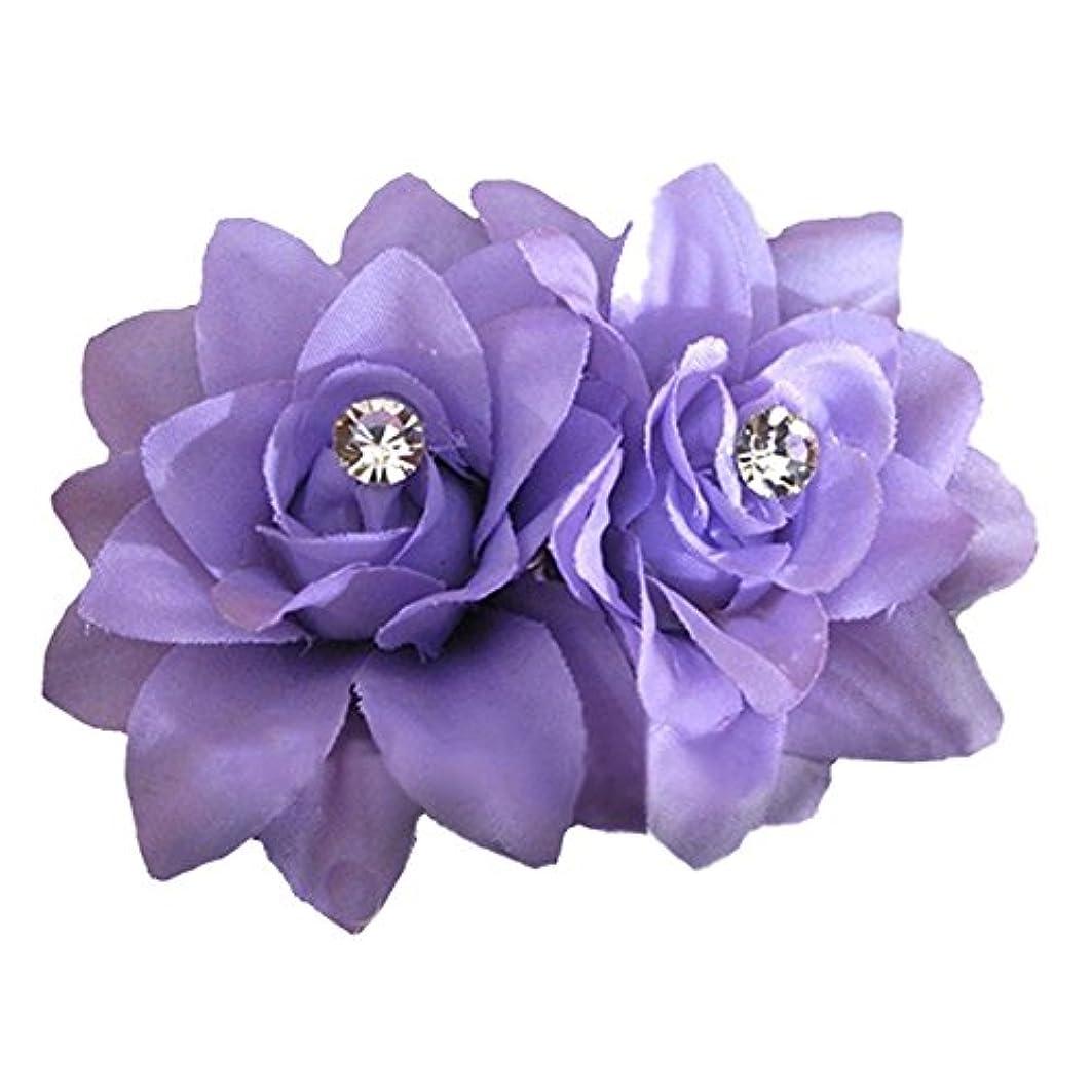 不確実プレフィックス後悔RETYLY 女性のファッション花ヘアクリップ ヘアピン ブライダルウェディングパーティーヘアアクセサリー 紫