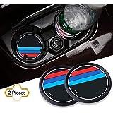 SWEKA 2PCS Mラインカーインテリアアクセサリーアンチスリップカップマット 適用車種:BMW 1 3 5 7シリーズ F30 F35 320li 316i X1 X3 X4 X5 X6