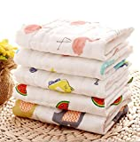 USAGE:As face towels,wash cloth,baby bibs,extra soft hankies,large napkins,gifting QUALITY: Pure muslin gets softer with every wash.Premium quality COLOR:Base color white with beautiful prints different design PACK OF 5 : Packet includes 5 pcs. napki...