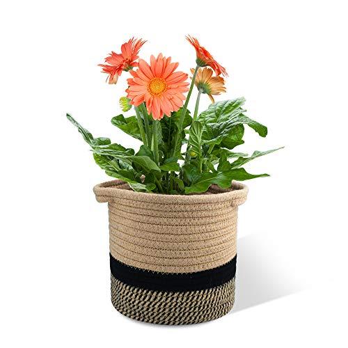 Halcyerdu Cesta de Planta 20 x 20 cm, Cesta de Cuerda de algodón para Plantas, Maceta de algodón, cestas de Almacenamiento Tejidas, para Decoración y Almacenamiento del Hogar Negro + Yute
