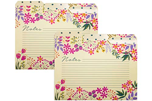 Thick Sturdy Reversible Decorative Floral Tabbed File Folders, Set of 6 Cute Colored Letter Size Organizers with Lined Notes Section, Wildflowers