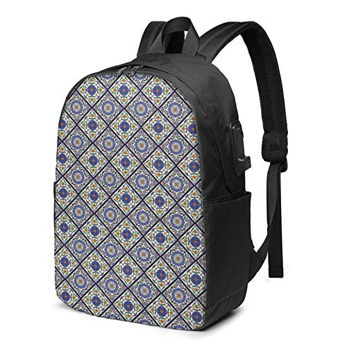 Laptop Backpack with USB Port Geometric 467, Business Travel Bag, College School Computer Rucksack Bag for Men Women 17 Inch Laptop Notebook