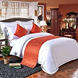 bedding w hotel - W-PLEIY Bed Runner Scarf Luxury Hotel Bed Towels Bedding Plain Soft Soft Non Shrinkable Foot Pad Cushion Cover Orange 50X240cm