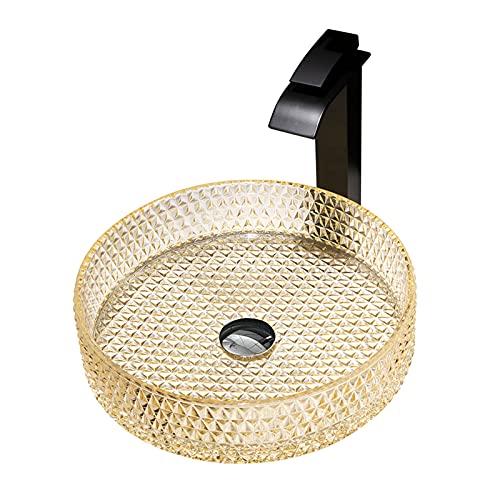 Lavabos de recipiente de baño, tocador de baño de cristal transparente contemporáneo + grifo de cascada + desagüe emergente, lavabo de baño de encimera,C