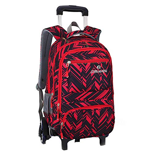 Trolley Bag Wheeled Backpack Kids Boys Girls Removable Rolling School Bag 6 Wheels Waterproof Multi-Compartment Students Rucksack for Teens School Outdoor Travel GWBI-red