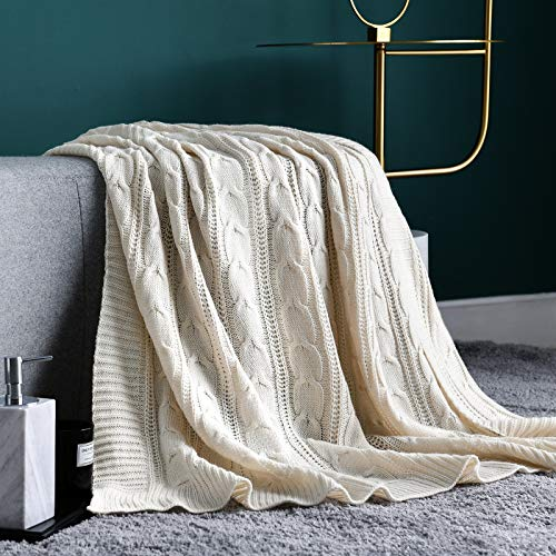 Jinchan Throw Blanket Ivory Lightweight Cable Knit Sweater...