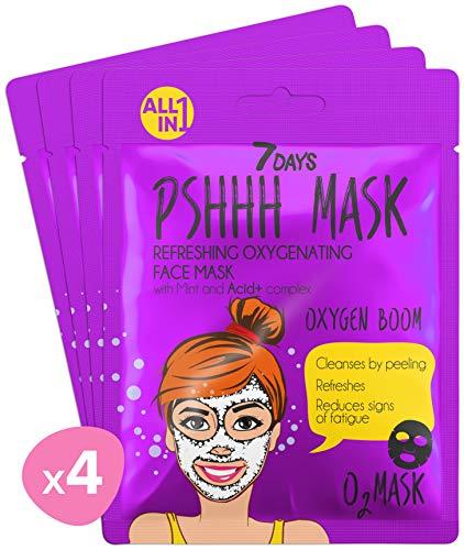 7DAYS Maschera 4 pezzi Menta Acid+ Idratante Bolle Schiuma Bubble Mask