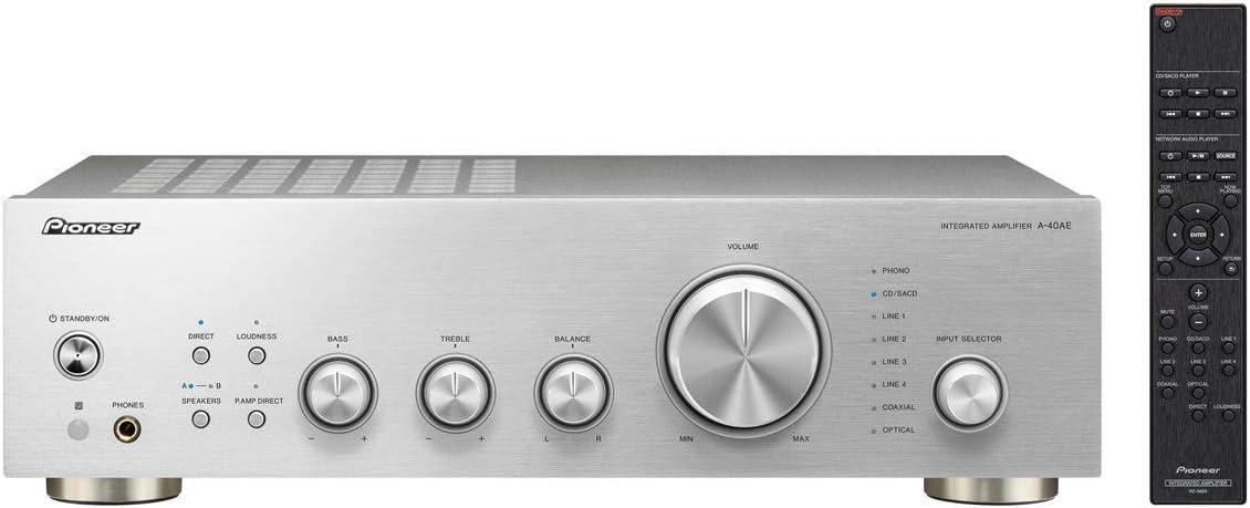 Amplificador PIONEER A-40AE Plata, entradas Phono MM y Digital: Amazon.es: Electrónica