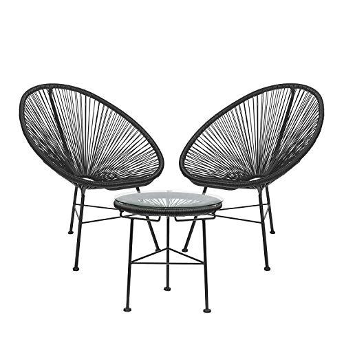 SKLUM Pack 2 Stühle & 1 Tisch Acapulco Schwarz (mehr Farben)