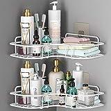 ASHINER 2 paquetes de estante de ducha de esquina para baño, organizador de accesorios de bañera a prueba de óxido, organización de pared + 4 ganchos adhesivos de hierro (Blanco)