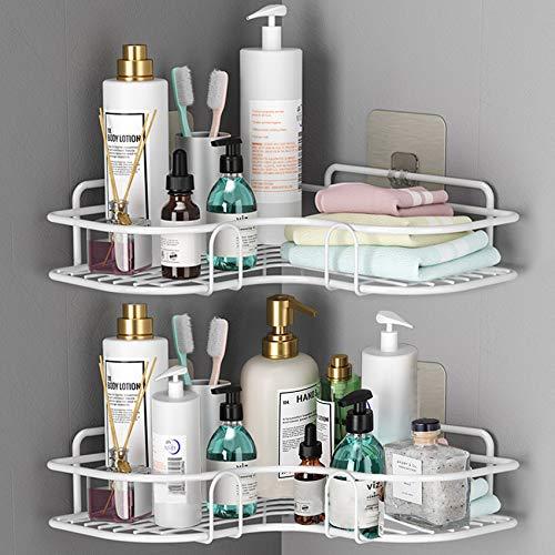Huryfox 2er-Pack Ecke Dusch Regal für das Badezimmer - Regal, rostfreies Badewannen-Zubehör / Organizer, selbstklebender Korb zur Lagerung von Shampoo / Wand Halter zur Organisation (Weiß )