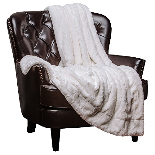 Chanasya Fuzzy Faux Fur Throw Blanket - Light Weight Blanket for Bed Couch and Living Room Suitable for Fall Winter and Spring (50x65 Inches) White