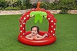 Aufblasbarer Baby Pool Rund Klein | Planschbecken | Aufstellpool | Swimmingpool | Kinderpool | Babypool mit Sonnenschutz für Babys Kleinkinder Kinder ab 1 Jahre für Garten Balkon | 91 x 91 x 91 cm