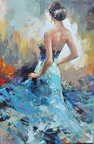 Tableau Femme Robe Bleue, Dimension 60/90 Cm, Orientation Verticale, Peinture À l'huile sur Toile De Coton Montée sur Châssis en Bois. Aucun Travail d'impression. Tableau Signé.